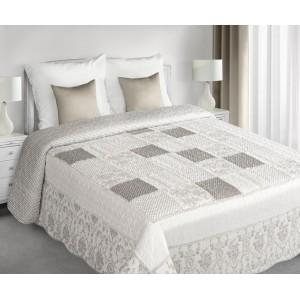 Sivé posteľné prehozy patchwork s guličkovým motívom