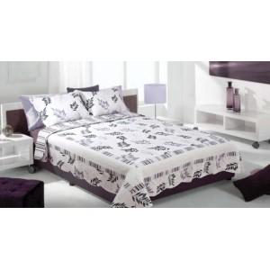 Krémovo-sivý prehoz na posteľ v šýle patchwork s prírodným motívom