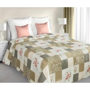 Bielo béžový prehoz na posteľ patchwork s ružičkovým vzorom