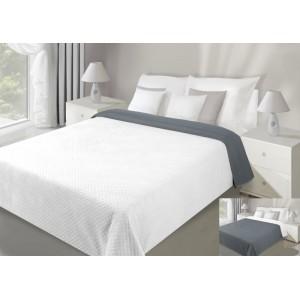 Biele obojstranné prehozy na posteľ prešívané