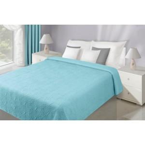 Modré obojstranné prehozy na posteľ s kvetinovým vzorom
