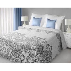 Biele obojstranné prehozy na posteľ so sivým vzorom