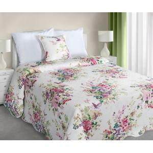 Biele obojstranné prikrývky na posteľ s kvetmi