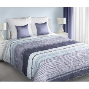 Obojstranná prikrývka na manželskú posteľ s fialovými pruhmi
