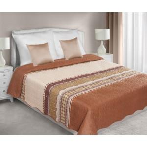 Obojstranné prehozy cez posteľ v hnedej farbe s motívom