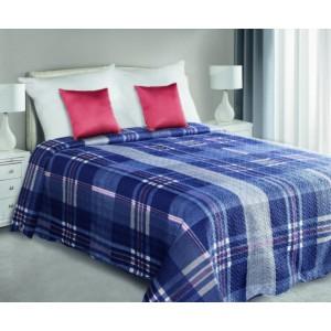 Modrá obojstranná prikrývka na posteľ s kockovaným vzorom