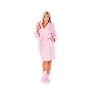 Zavinovací dámsky župan ružový s kapucňou a pohodlnými ponožkami