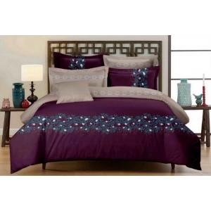 Posteľné obliečky fialovo béžové s kvetinovým motívom