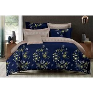 Kvalitné posteľné obliečky modro béžovej farby s kvietkami