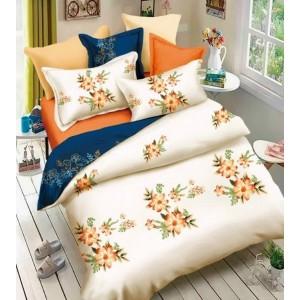 Súprava posteľných obliečok krémovo modrej farby so vzorom kvetov