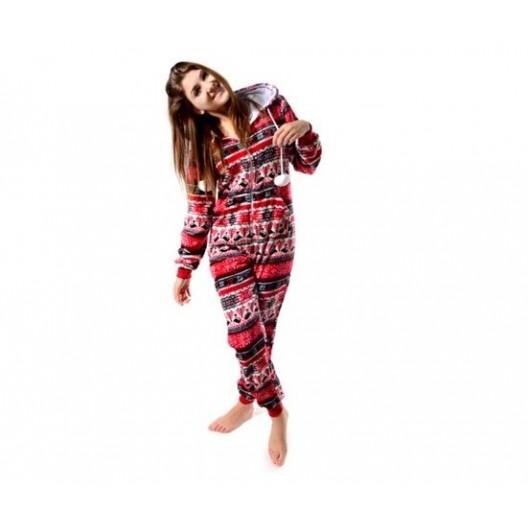 Dámske overal pyžamo červené s hviezdičkovým vzorom