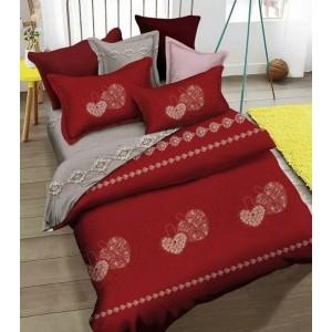 Bordovo sivé 3D posteľné obliečky so srdcovým vzorom 200x220