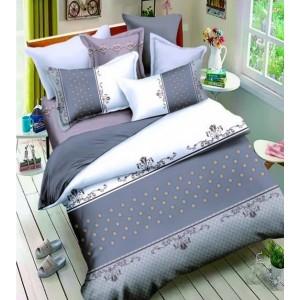 3D bielo modré posteľné návliečky s bodkovaným motívom 200x220 cm