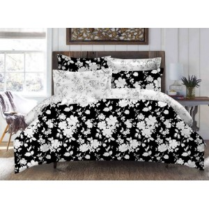 Čierne posteľné obliečky s bielymi kvetmi 160cm x 200cm