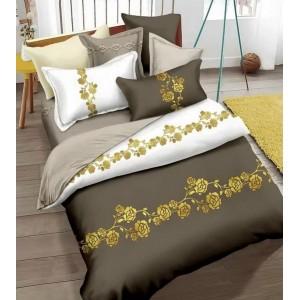 Kvalitné posteľné obliečky tmavobéžovej farby s kvetmi 160x200cm