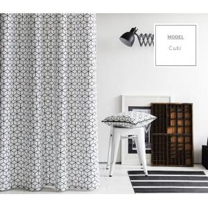 Okenné škandinávske závesy bielo čiernej farby