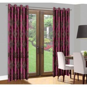 Hotové závesy do okien fialovo hnedej farby s motívom kvetov