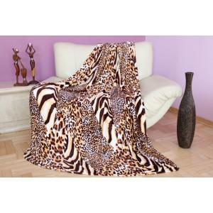 Mäkká krémovo hnedá deka s tigrovaným vzorom