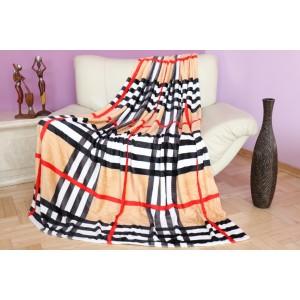 Teplá deka čierno béžovej farby s kockovaným vzorom