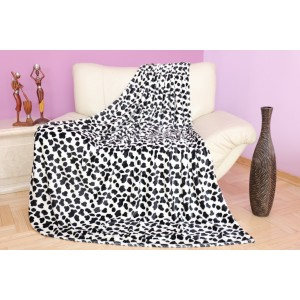 Luxusná deka v bielej farbe s čiernym vzorom