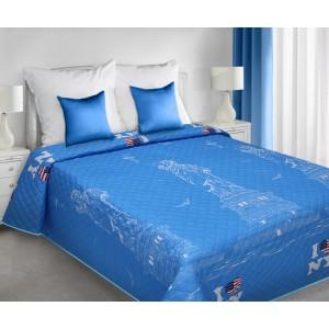 Modré prehozy na posteľ New York