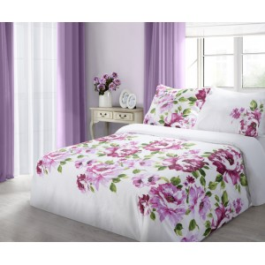Biele posteľné obliečky z bavlny s motívom kvetov