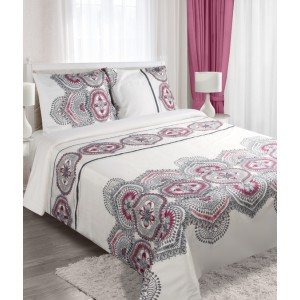 Bavlnené biele posteľné obliečky s ornamentom