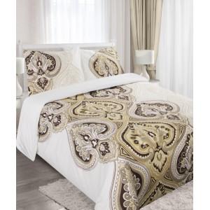 Béžové posteľné obliečky z bavlny s ornamentami