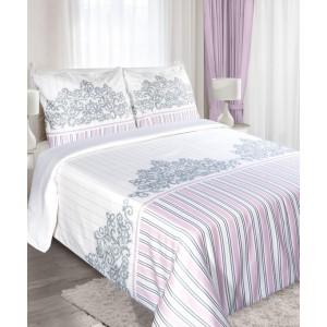 Biele bavlnené posteľné obliečky 160x200 cm s pruhmi