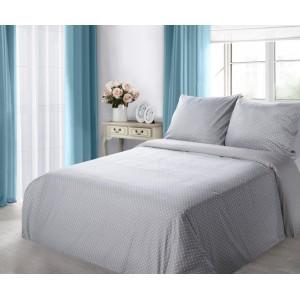 Sivé bavlnené posteľné obliečky s bodkami