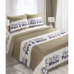 Hnedé bavlnené návliečky na posteľ s nápisom