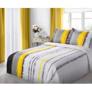 Bavlnené žlté posteľné obliečky s pásmi