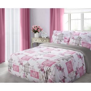 Biele bavlnené posteľné obliečky 200 x 220 s kvetinami