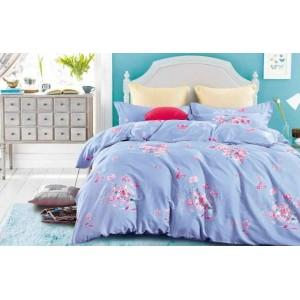 Modré bavlnené posteľné obliečky s ružovými kvetmi