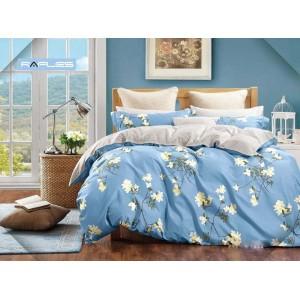 Modré obojstranné posteľné obliečky s kvetmi