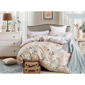 Béžové obojstranné posteľné obliečky s motívom kvetín