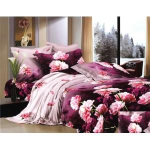 Bavlnené posteľné obliečky s ružovými kvetmi