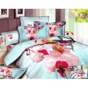 Modré posteľné obliečky s motívom orchidey