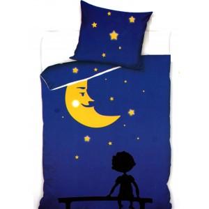 Modré posteľné obliečky s mesiacom