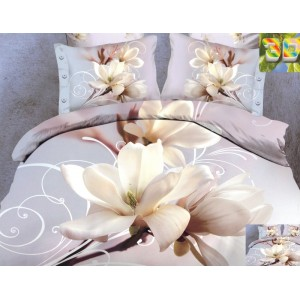 Bavlnené posteľné obliečky s motívom kvetu