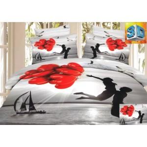 Sivé bavlnené posteľné obliečky 160 x 200 cm pre zaľúbených