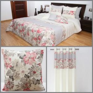 Krémový dekoračný set do spálne s kvetmi