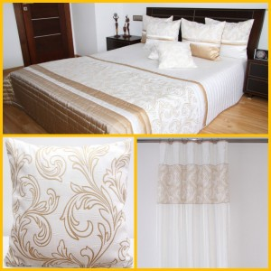 Krémová dekoračná zostava do spálne s oramnetom
