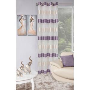 Elegantné závesy do obývačky s fialovými pásmi
