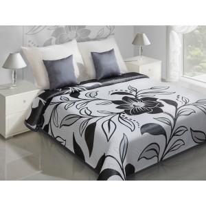 Čierna obojstranná prikrývka na posteľ so vzorom kvetu
