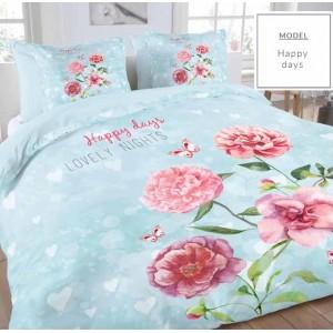 Modré bavlnené posteľné obliečky so motívom ruží