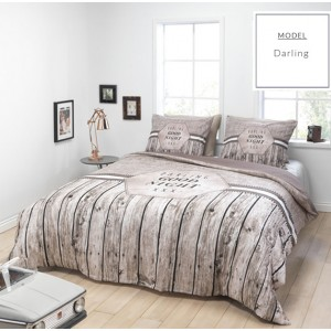 Hnedé bavlnené posteľné obliečky s motívom dreva
