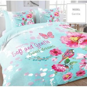 Modré bavlnené návliečky na posteľ s motívom kvetov
