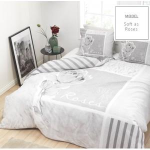 Moderné sivé bavlnené posteľné obliečky s motívom ruže