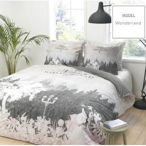 Sivé bavlnené posteľné obliečky s motívom prírody